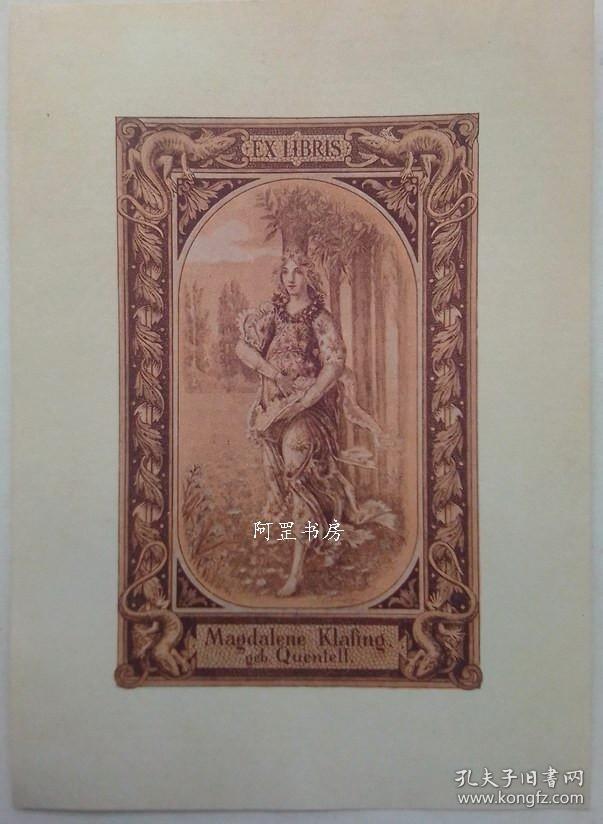 德国早期照相腐蚀版藏书票林中的闺秀