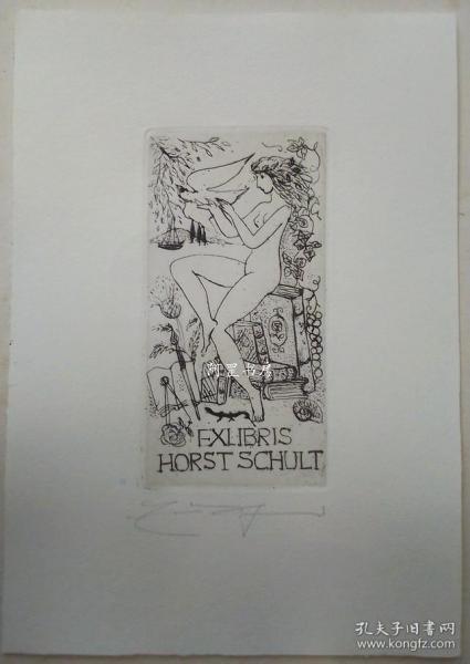 德国酸刻铜版画藏书票女子与鸽子