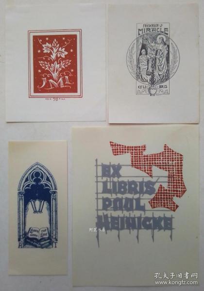 欧洲木版画线刻版藏书票4张合售41组
