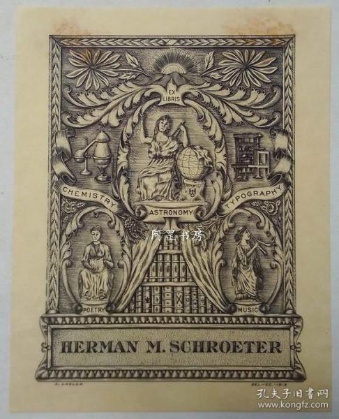 美国早期雕刻铜版画藏书票女神