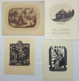 欧洲木版画石版画藏书票4张合售49组
