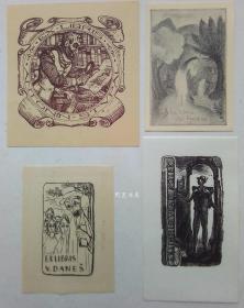 欧洲木版画石版画线刻版藏书票4张合售48组
