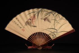 红木手绘纸折扇e