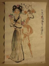 竖幅传统水墨人物画一幅未装裱字画