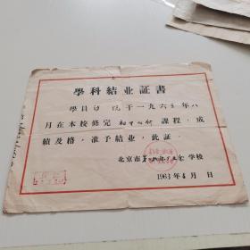 1963年 北京市第二机床厂业余学习【毕业证】  16开