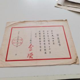 1956年 北京市西单区赵登禹路小学【毕业证】校长 :金瑛 16开