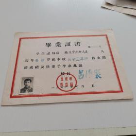 1961年 北京城区第五中学【毕业证】校长 :吕  16开