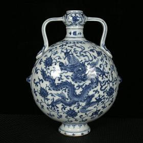 明宣德青花龍穿花紋如意耳扁瓶 規格29.5厘米X23厘米X13厘米