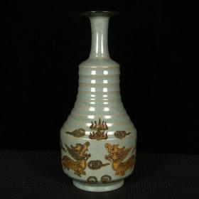 宋汝瓷奉華款琺華彩描金麒麟紋炫紋瓶 高27厘米 直徑13厘米