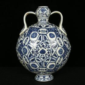 明永樂青花幾何圖形紋如意耳扁瓶 規格29厘米X22厘米X13厘米