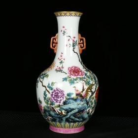 清乾隆琺瑯彩描金錦雞牡丹紋雙耳瓶 高34.5厘米 直徑18厘米