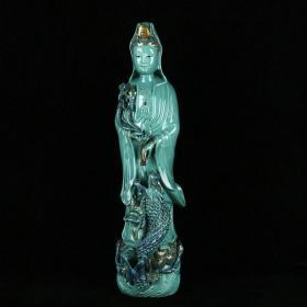 清雍正松石綠秞描金滴水觀音 規格53厘米X13厘米X15厘米