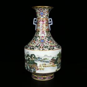 清乾隆琺瑯彩描金山水紋雙耳瓶 高28.5厘米 直徑16厘米