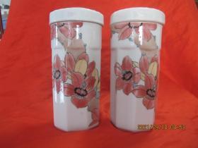 湖南陶瓷研究所精制 釉下五彩茶杯 一对   尺寸18X7厘米