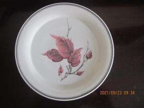 湖南醴陵群力瓷厂经典金双凤款 釉下彩五彩红叶挂盘 7寸
