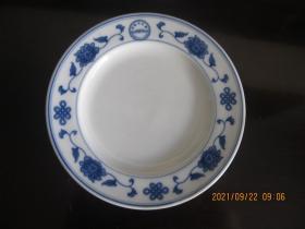 湖南醴陵群力蓝双凤款釉下五彩中国结平盘   人民大会堂专用瓷   尺寸18厘米