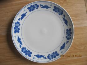 湖南醴陵群力瓷厂经典金双凤款 釉下彩五彩宝石蓝海棠花特大盘   尺寸35.3厘米