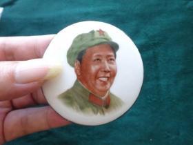 毛主席像章 军装右向金边大瓷章【保真】