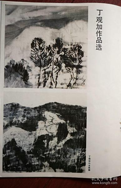 彩版美术插页(单张),丁观加国画《山水》,陈佩秋国画《竹蝶图》《鱼》