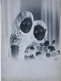 CDDP·190·12·民国·超大尺寸底片·姐妹人物肖像底片·2枚·215mm*宽165mm