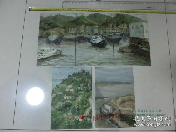 中国美院流出 手绘油画原作5幅  其中3张可以拼成一幅, 未署名,油画画的较好