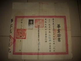 1951年【河南省立郑州师范学校】毕业证书!校长;张宇瑞!尺寸38/36.5厘米