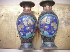 早期【铜胎景泰蓝】花瓶一对!底部【鸢翔】款!高21厘米,口径7.2厘米