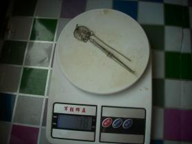 清代【福寿镊子牙签】银两件!重18克!镊子长8.2厘米