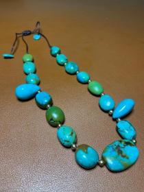 藏传:爆老 原矿绿松石 项链
