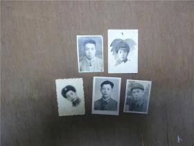 老照片    五六十年代军人2寸登记照共5张    略有大小