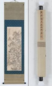 清-王翚-山水-吴荣光旧藏-附作品早年来历记录资料-带木盒