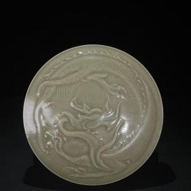 越窑青釉盘龙纹印泥盒