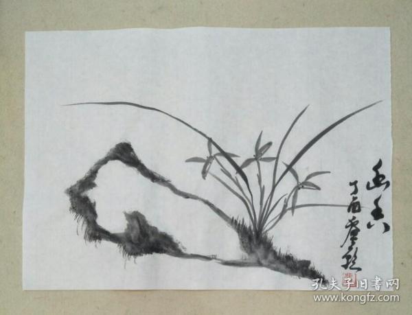 宣纸手绘石头兰花文人画【实拍图片】未装裱
