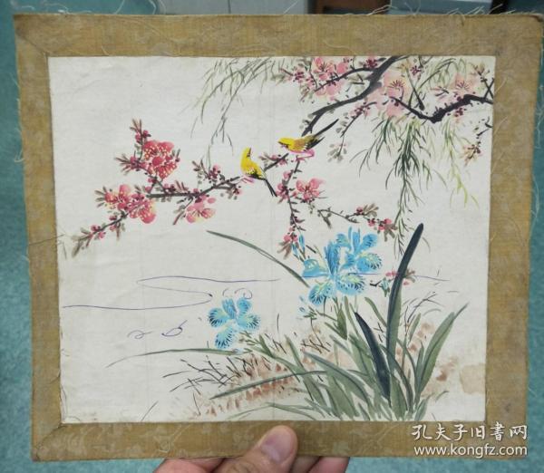 80年代老画:桃红柳绿蝴蝶兰黄雀(装裱在硬纸板上,画面有划线)