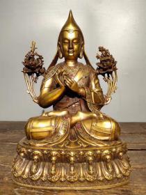 收藏黄铜厚胎镶嵌宝石开光撒朱砂佛像密宗佛像宗喀巴藏佛一尊
