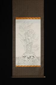回流字画 回流书画《不动明王》白描 佛教画 日本回流字画 日本回流书画