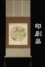 回流字画 回流书画 印刷品《花卉团扇》立轴;日本回流字画 日本回流书画
