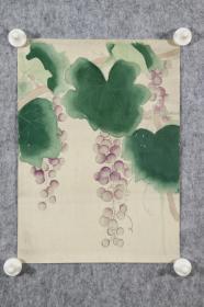 回流字画 回流书画《葡萄》图 佚名。日本回流字画 日本回流书画