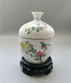 民国粉彩花鸟盖缸包老盘碗罐缸瓶壶炉盒笔筒烟缸笔筒盖缸-1718387