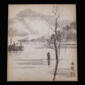 平成时期,近代书画家绘《上高地图》1枚,纸本,背纸洒银,背附题记