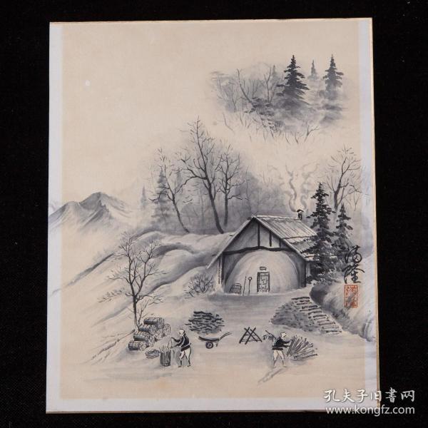 昭和时期,满隆绘《郊村庭院图》1枚,纸本,背纸洒银