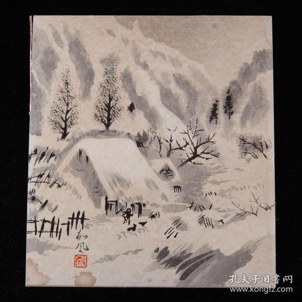 旧绘,近代书画家绘《雪景游历图》等共1枚,设色绘本,纸本,背纸洒银