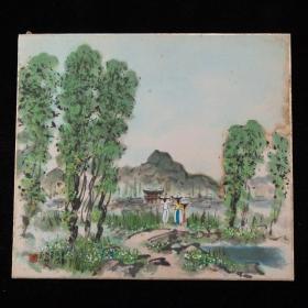昭和时期,松林人绘《平南成川图》共2枚,著有《韩国の美しさ : 加藤松林人随笔画集》油画纸本,背纸洒银