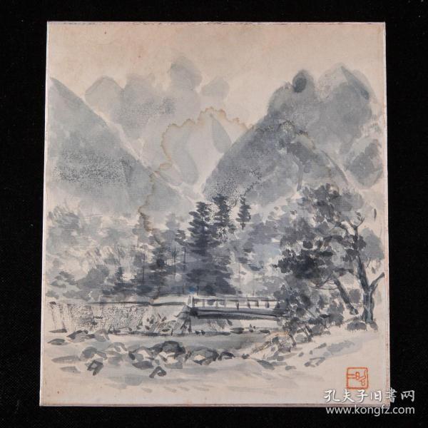 昭和时期,昭二绘《山林图》1枚,纸本,背纸洒银