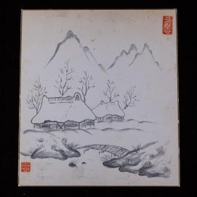 昭和时期,笹本忠君卫门涛风绘《冬日雪景图》1枚,纸本,背纸洒银,背附题跋