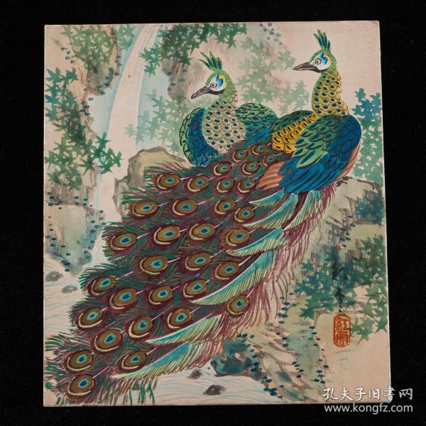 明治至昭和时期,山本红云绘《孔雀双栖图》1枚,绢本,背纸洒银,善绘风景及花鸟,其作品多次入展