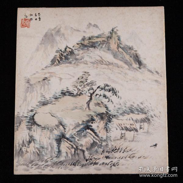 已亥年旧绘,画家绘《雪景山郊图》1枚,纸本,背纸洒银,背附题记