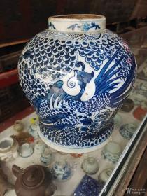 清顺治,凤凰牡丹青花瓷将军罐