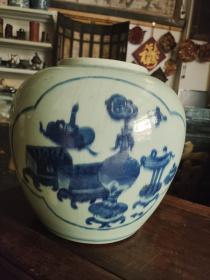 釉裂青花瓷大罐