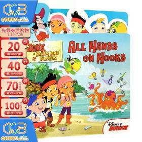 英文原版 Jake and the Never Land Pirates: All Hands on Hooks 早教启蒙造型纸板翻翻书 边学边玩!